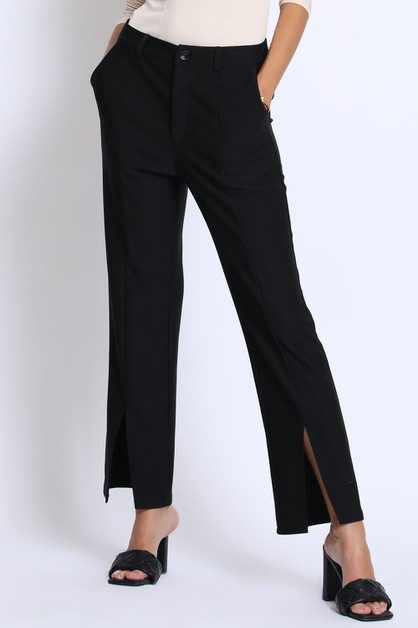FRONT SLIT KNIT PANTS - orangeshine.com