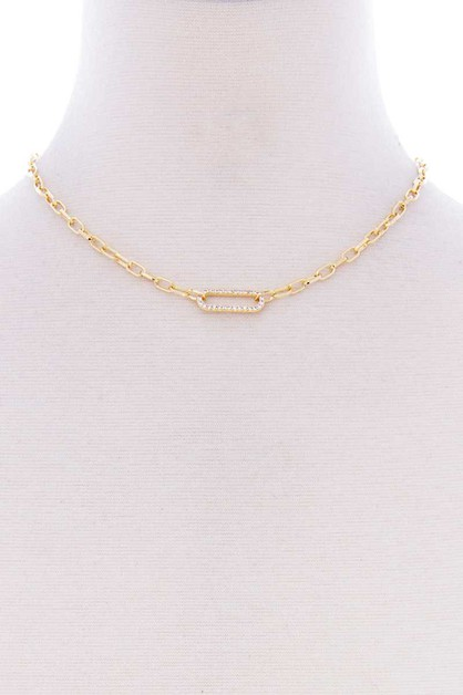 STONE OVAL POINT METAL CHAIN NECKLAC - orangeshine.com