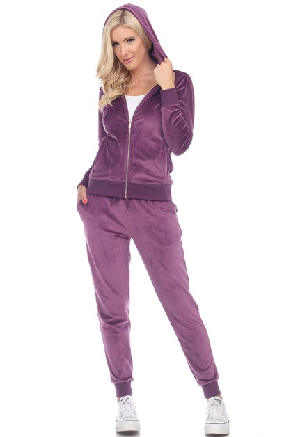 2 Piece Velour Tracksuit Set - orangeshine.com