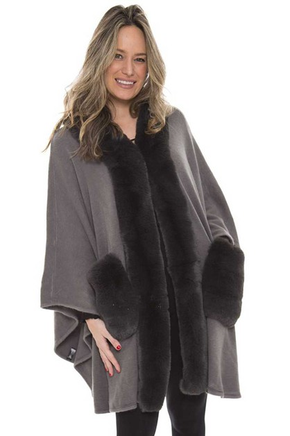 PLAIN COLOR FAUX FUR TRIM SHAWL - orangeshine.com