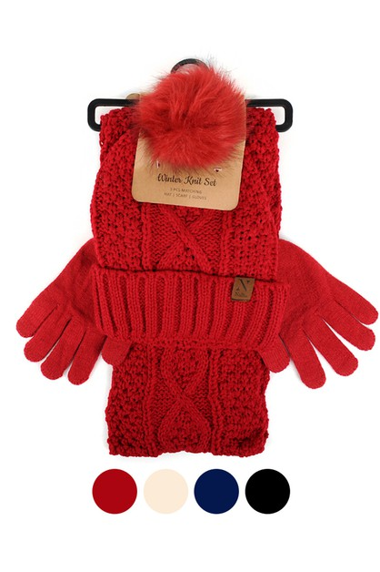 Womenc Knit Hat Gloves Scarf Set - orangeshine.com