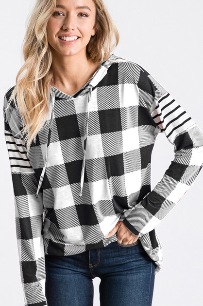 PLAID AND STRIPE HOODED TOP - orangeshine.com
