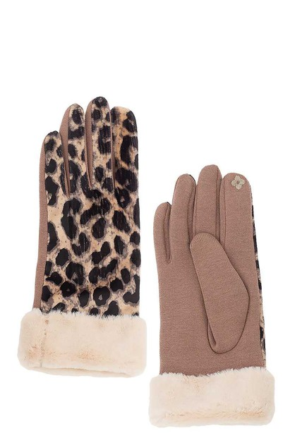 LEOPARD PATTERNED VELOUR TOUCHSCREEN - orangeshine.com