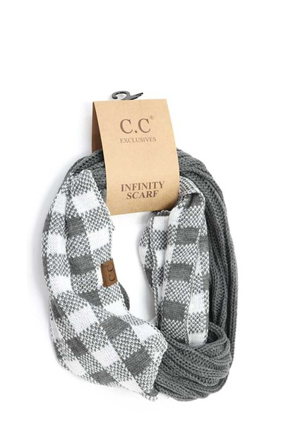 CC BUFFALO CHECK KNIT SCARF - orangeshine.com