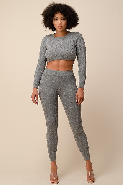 CROPPED SWEATER TOP-HIGH WAIST PANTS - orangeshine.com