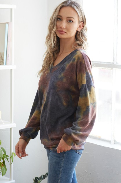 Tie dye v-neck top - orangeshine.com