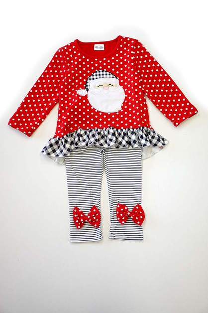 Santa applique red polkadot set - orangeshine.com