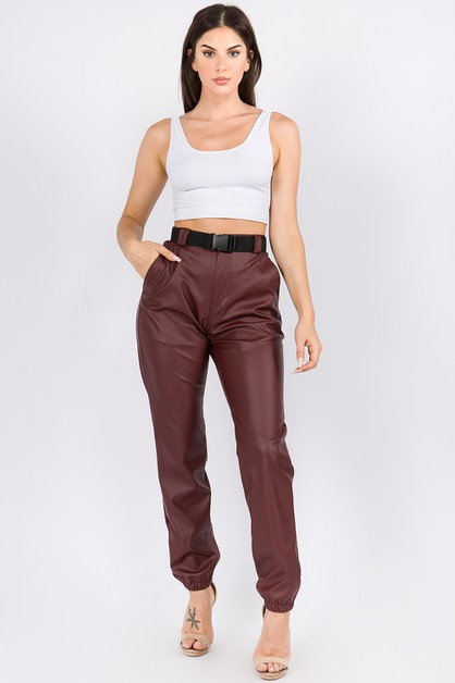 HIGH WAIST FAUX LEATHER JOGGERS BELT - orangeshine.com
