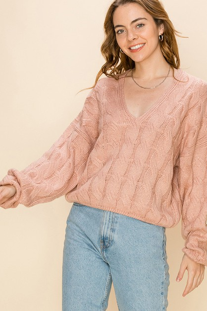 V NECK CABLE KNIT PULLOVER SWEATER - orangeshine.com
