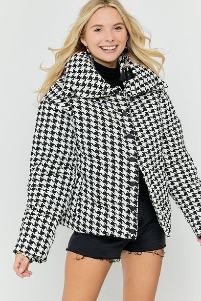 PUFFER QUILTED GINGHAM JACKET SNAP C - orangeshine.com