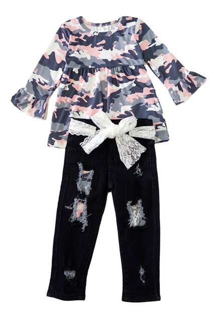 Pink camoflage denim set - orangeshine.com
