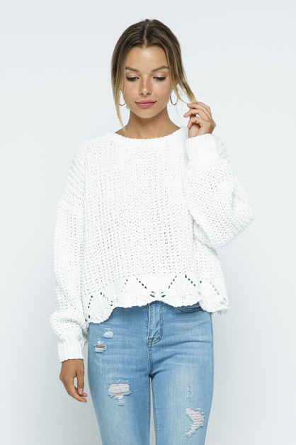 ROUND NECK RIB KNIT SWEATER - orangeshine.com