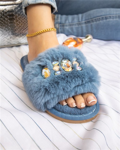 WOMEN RHINESTONE FURRY FLAT SANDALS - orangeshine.com