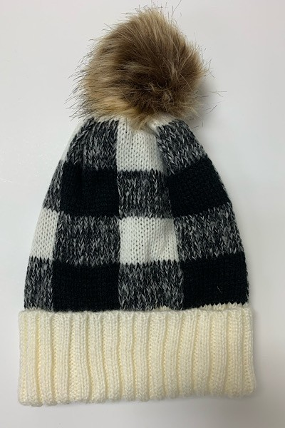 White Black Plaid Pom Pom Beanie - orangeshine.com