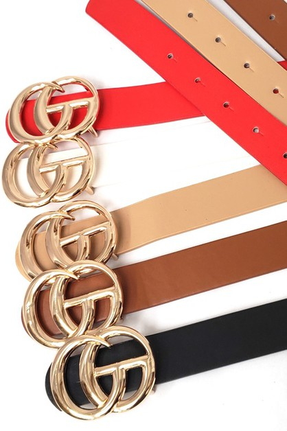 WIDE DOUBLE RING GC BUCKLE FAUX LEAT - orangeshine.com