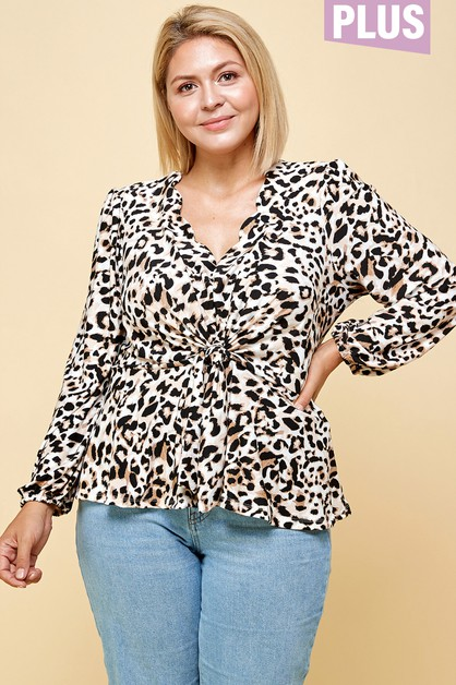 PLUS SIZE LONG SLEEVE PEPLUM WITH SC - orangeshine.com