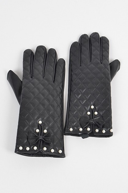 Quilted Faux Leather Gloves W Imitat - orangeshine.com