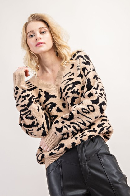 VISCOSE LEOPARD SWEATER - orangeshine.com