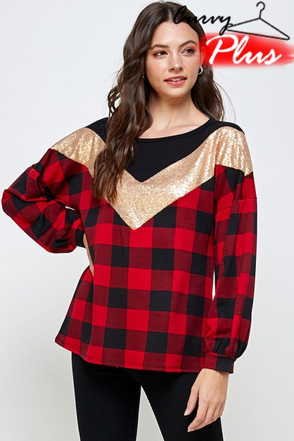 PLAID N SEQUIN COLOR BLOCK PUFF SLV - orangeshine.com