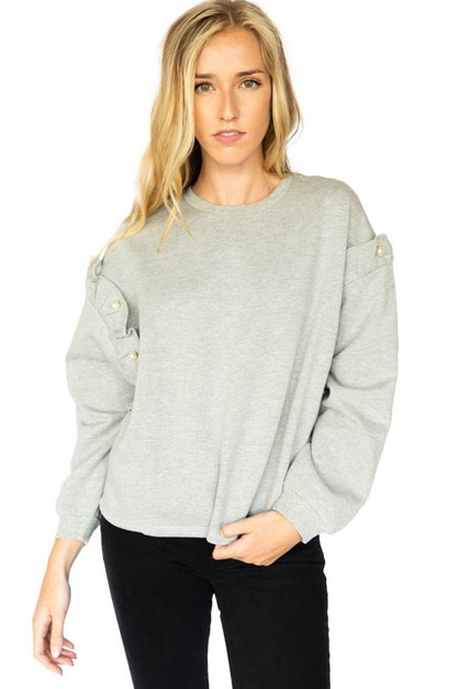 Ruffle and Pearl Glam Sweatshirt - orangeshine.com