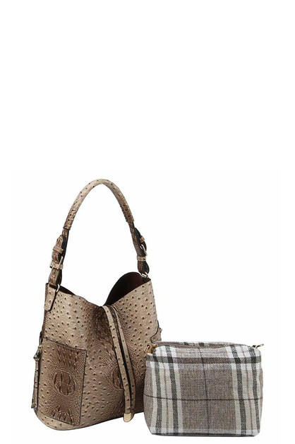 OSTRICH PATTERN HOBO WITH CHECK PATT - orangeshine.com