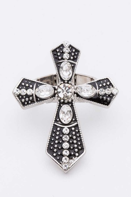 Cross Crystal Stretch Ring-AY419 - orangeshine.com
