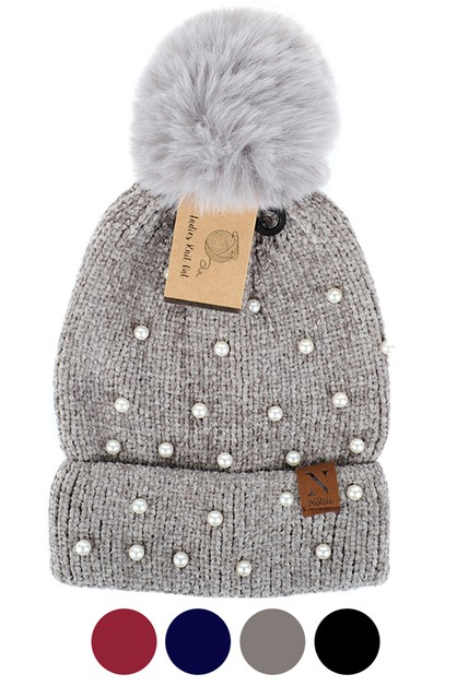 Women Pom Pom Pearls Knit Winter Hat - orangeshine.com
