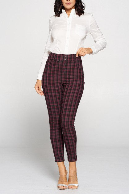 PLAID HIGHWAIST PANTS - orangeshine.com