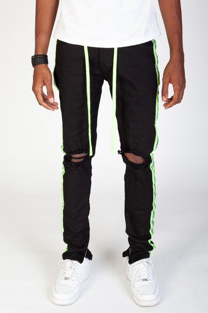 SAFETY TAPED STRIPE PANTS - orangeshine.com