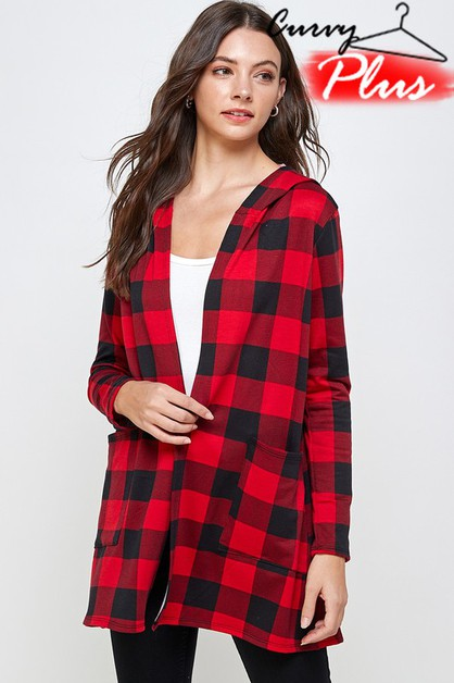 PLAID PRINT HOODED CARDIGAN - orangeshine.com