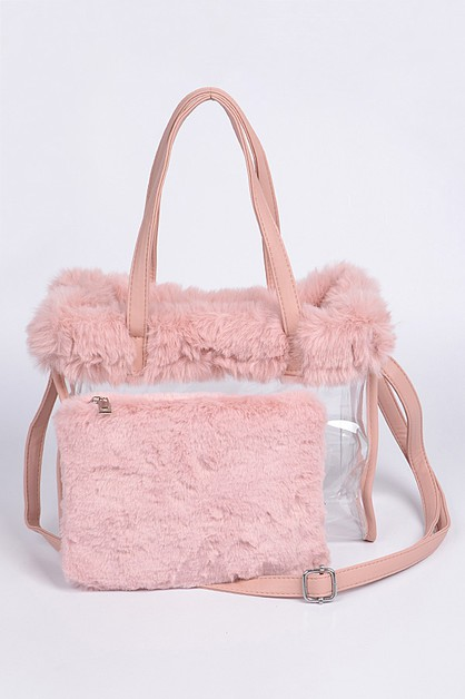 2 In 1 Faux Fur Cleared Tote Set - orangeshine.com