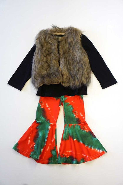 Red green bell pants with faux fur v - orangeshine.com
