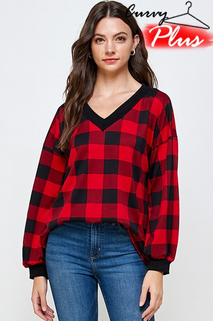 PLAID PRINT V-NECK PUFF SLEEVE TOP - orangeshine.com