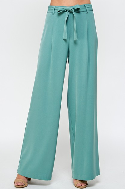 PLEATED WIDE LEG PANTS - orangeshine.com
