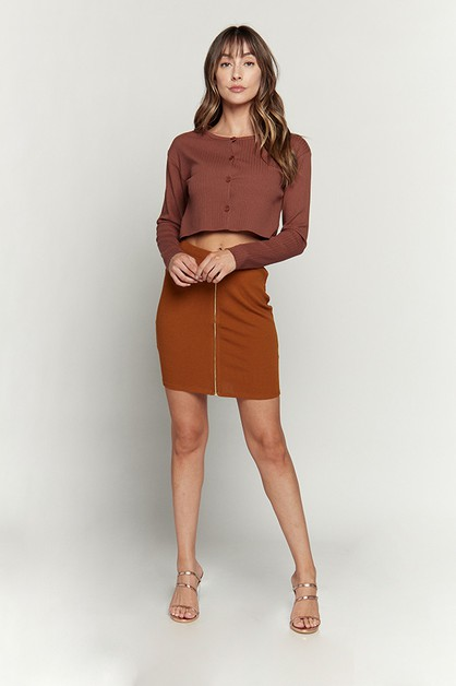 MINI SKIRT WITH ZIPPER FRONT - orangeshine.com