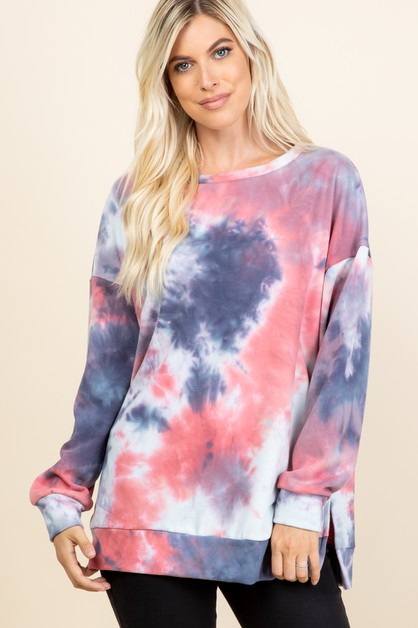 TIE DYE SIDE SLIT BOAT NECK TOP - orangeshine.com