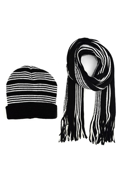 Men Winter Knit Scarf Hat Set - orangeshine.com