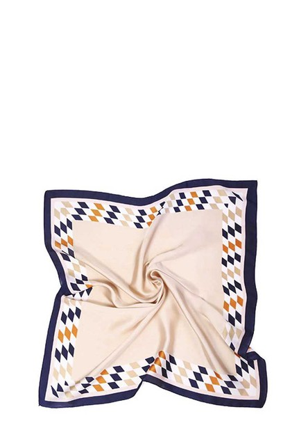 ARGYLE BORDERED SILKY BANDANA - orangeshine.com