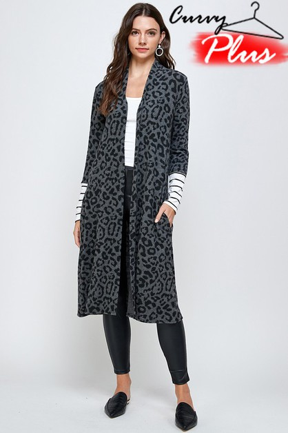 LEOPARD LONG OPEN FRONT CARDIGAN - orangeshine.com