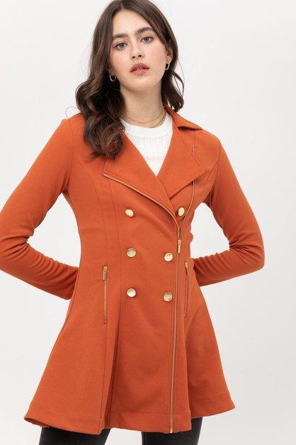 Long Sleeve Zip Up Flared Jacket - orangeshine.com