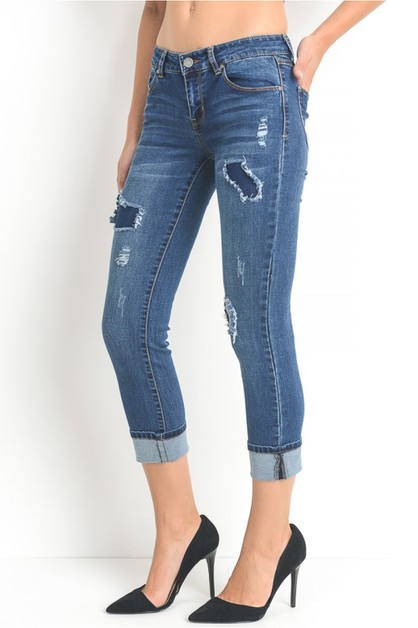 Patched up crop jeans with turn back - orangeshine.com