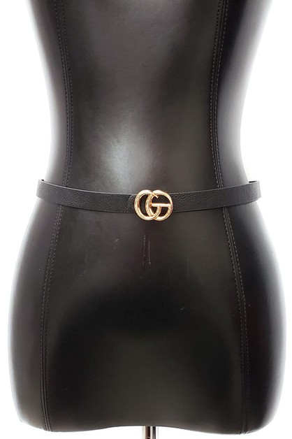 DOUBLE RING GC BUCKLE FAUX LEATHER B - orangeshine.com