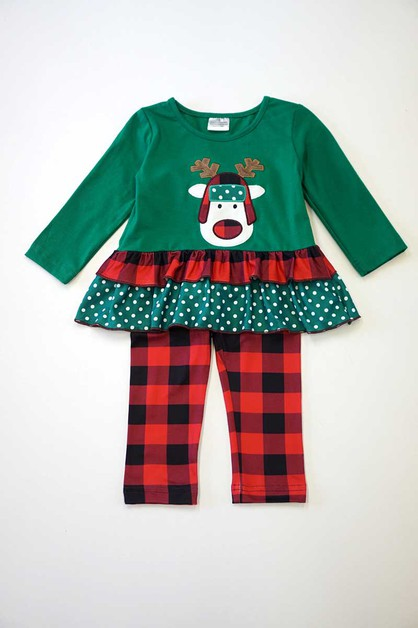 Reindeer green red plaid set - orangeshine.com