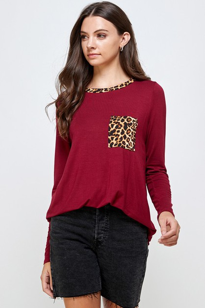 SOLID TUNIC TOP WITH LEOPARD POCKET - orangeshine.com