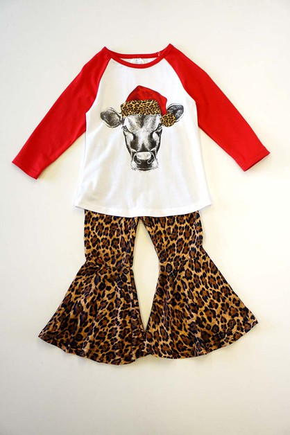 Leopard santa cow bell pants set - orangeshine.com
