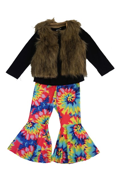 Tie dye bell pants with faux fur ves - orangeshine.com