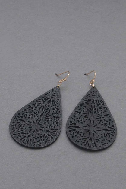 LEATHER DANGLE EARRING  - orangeshine.com