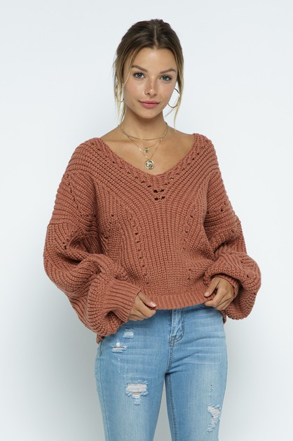 V-neck Pullover Chunky Knit Sweater - orangeshine.com