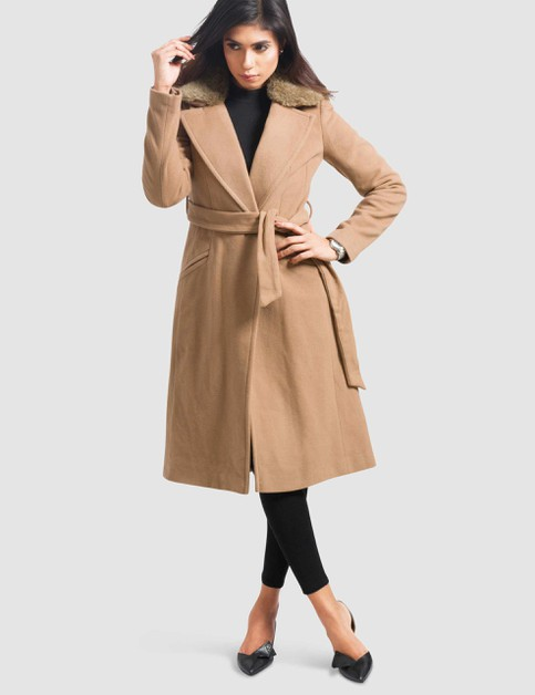 WOMENS CASHMERE-WOOL BLEND WRAP COAT - orangeshine.com