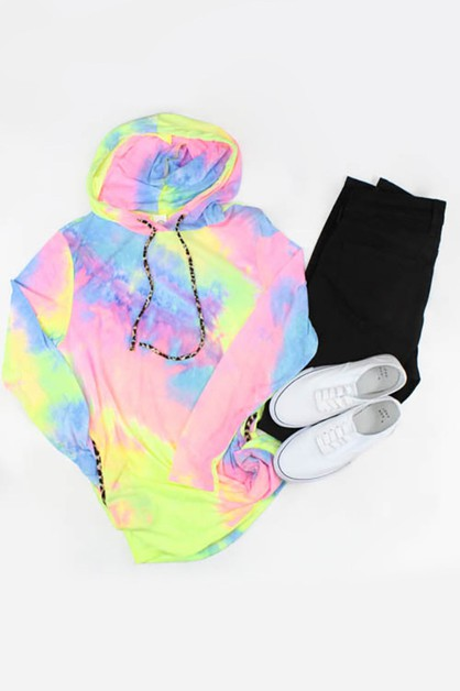 Tie Dye Hoodie with Leopard Accents  - orangeshine.com
